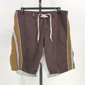 basix men surf shorts swim trunks brown zip pocket